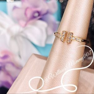 Tiffany & Co. Tiffany T Diamond Wire Ring in 18k Rose Gold, Size 6